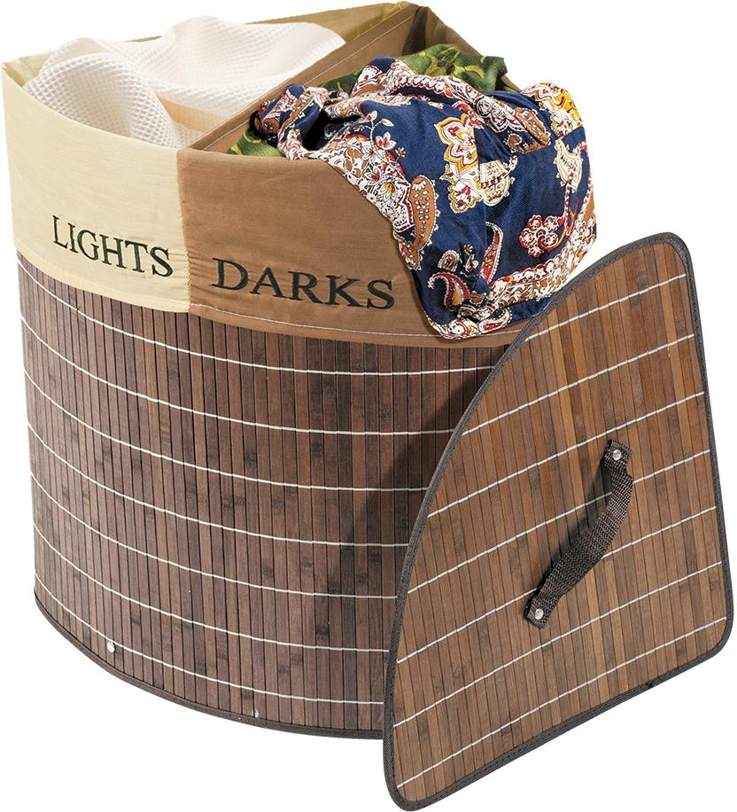 Корзина для белья Tatkraft Monako, угловая, цвет: коричневый, 35 см х 35 см х 50 см корзина для белья sima land день стирки цвет розовый 35 см х 35 см х 55 см