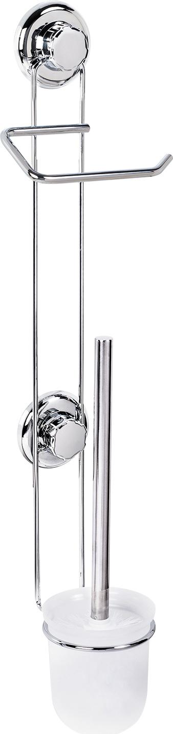Гарнитур для туалета с держателем для туалетной бумаги Tatkraft Mega Lock, на вакуумных шурупах11885Гарнитур для туалета с держателем для туалетной бумаги Tatkraft Mega Lock изготовлен из хромированной стали и пластика. Гарнитур, не занимающий много места, крепится к стене с ровной, воздухонепроницаемой поверхностью, при помощи мощных вакуумных шурупов. Благодаря компактным размерам, подойдет даже для маленького туалета, а современный дизайн впишется в любой интерьер. Диаметр гарнитура: 10 см.Высота стенки: 11 см.Высота ершика: 36 см.Размер держателя туалетной бумаги: 14,5 см х 7 см. Общая высота: 60 см.Максимальная нагрузка: 16 кг.