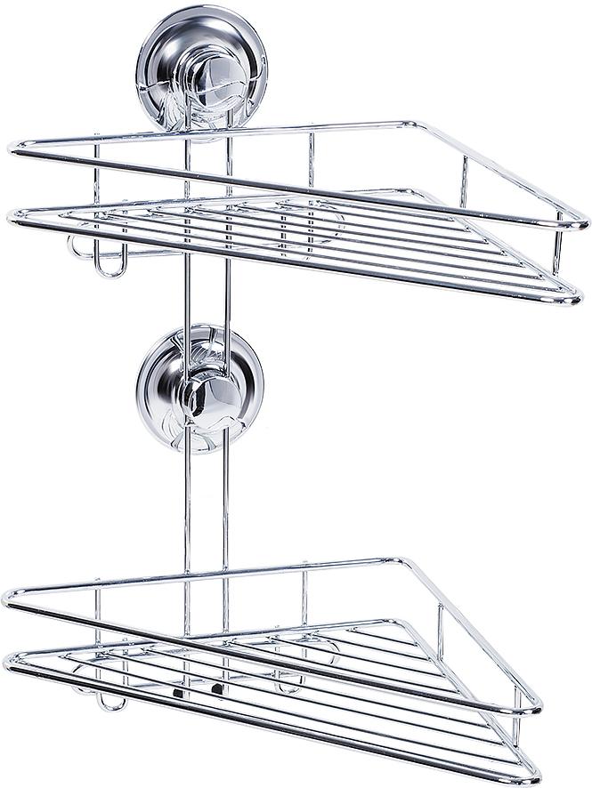 """Угловая полка Tatkraft """"Ring Lock"""" имеет два яруса и крепится к стене при помощи силиконового кольца Magic Ring. Влагостойкое кольцо крепко держит полку на ровных и не ровных (1-2 мм), воздухонепроницаемых поверхностях: стекло, глазурованная плитка, металл, пластик.  Теперь, чтобы прикрепить полку к стене, не нужно делать лишних дырок.  Размер полочек: 30 см х 16 см х 3,5 см.  Высота полки: 36 см.  Диаметр крепления: 6 см."""