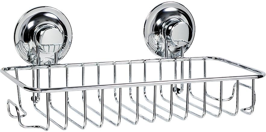 """Фигурная полка Tatkraft """"Ring Lock"""" с одним ярусом и двумя боковыми крючками прекрасно впишется в интерьер любой ванной. Не занимая много места, полка достаточно вместительная и выдерживает нагрузку 8 кг! Благодаря вакуумным присоскам, полка надежно крепится к ровной и не ровной (1-2 мм), воздухонепроницаемой поверхности.  Полка Tatkraft """"Ring Lock"""" займет достойное место в вашем доме.  Размер полки: 28,5 см х 14 см х 9 см.  Диаметр вакуумного крепления: 6,5 см."""