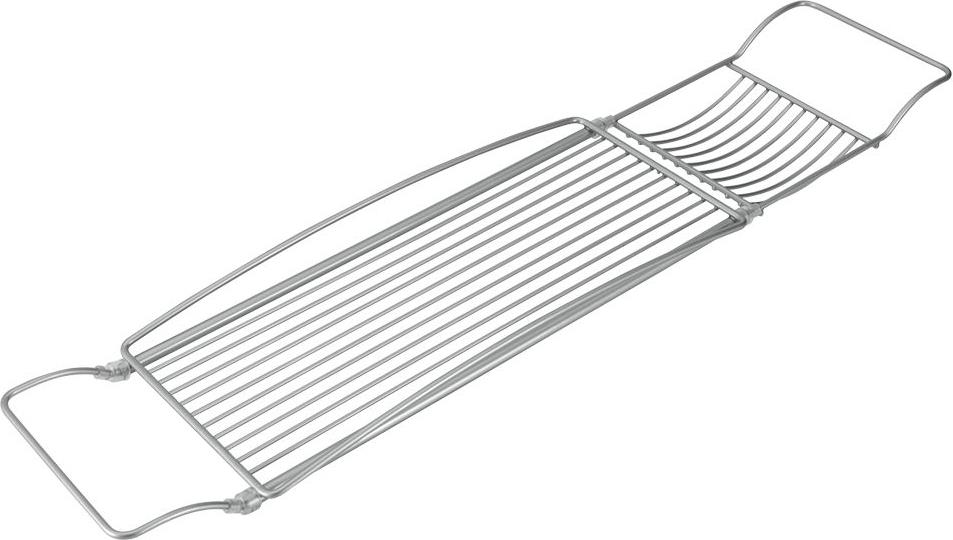 """Навесная полка Metaltex """"Reflex"""", выполненная из стали c уникальным политермическим покрытием Polytherm, предназначена для ванны. Покрытие Polytherm значительно продлевает срок службы изделий, это покрытие ударопрочное, на нем не образуются царапины и ржавчина. Полка имеет 2 отделения разного размера. Подвешивается на борта ванны. Длину полки можно регулировать. Такая полка пригодится для хранения различных принадлежностей, которые всегда будут под рукой. Размер полки: 66-85 см х 15,5 см х 5 х см. Размер большого отделения: 38,5 см х 15,5 см х 3,5 см. Размер малого отделения: 12 см х 15,5 см х 1,5 см."""