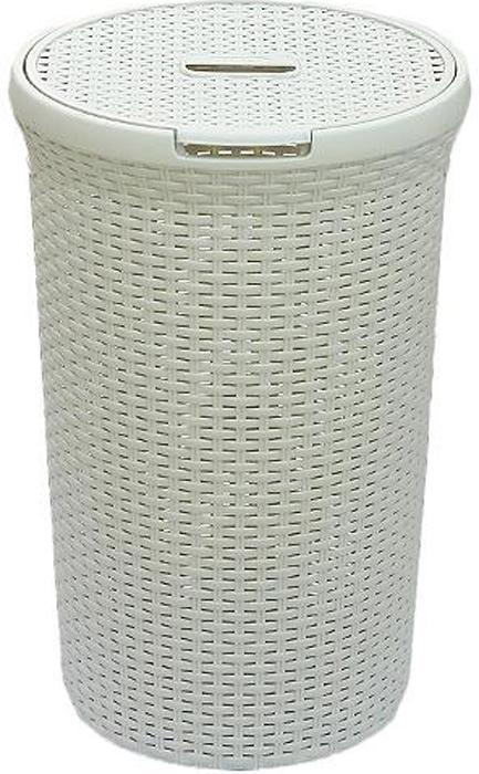 Корзинадля белья РАТТАН, круглая, цвет: молочный, 48 л00710-885-00