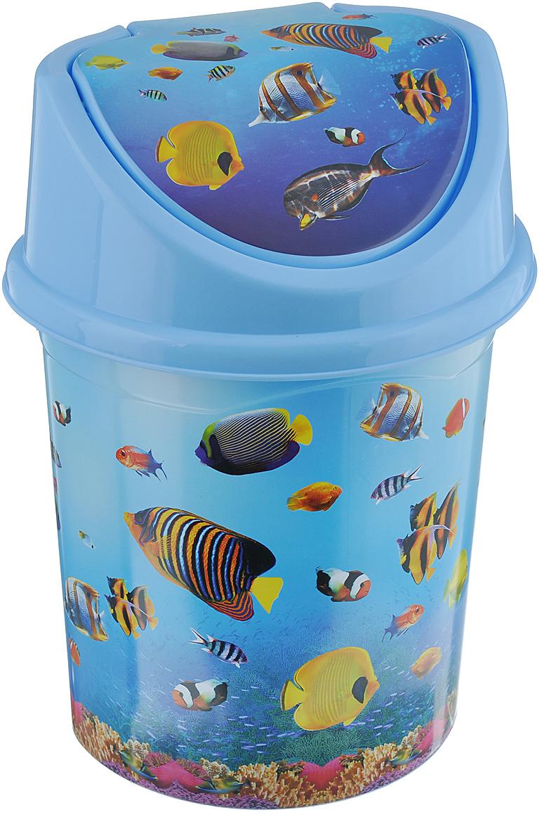 """Контейнер для мусора Violet """"Океан"""" изготовлен из прочного пластика. Контейнер снабжен удобной съемной крышкой с подвижной перегородкой. В нем удобно хранить мелкий мусор. Благодаря яркому дизайну такой контейнер идеально впишется в интерьер и дома, и офиса.Размер изделия: 16 см x 20 см x 27 см."""
