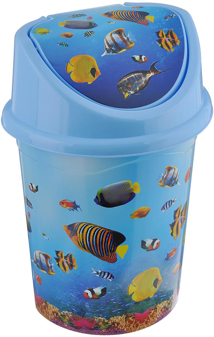 """Контейнер для мусора Violet """"Океан"""" изготовлен из прочного пластика. Контейнер снабжен удобной съемной крышкой с подвижной перегородкой. В нем удобно хранить мелкий мусор. Благодаря яркому дизайну такой контейнер идеально впишется в интерьер и дома. Размер изделия: 21 см x 26 см x 36 см."""