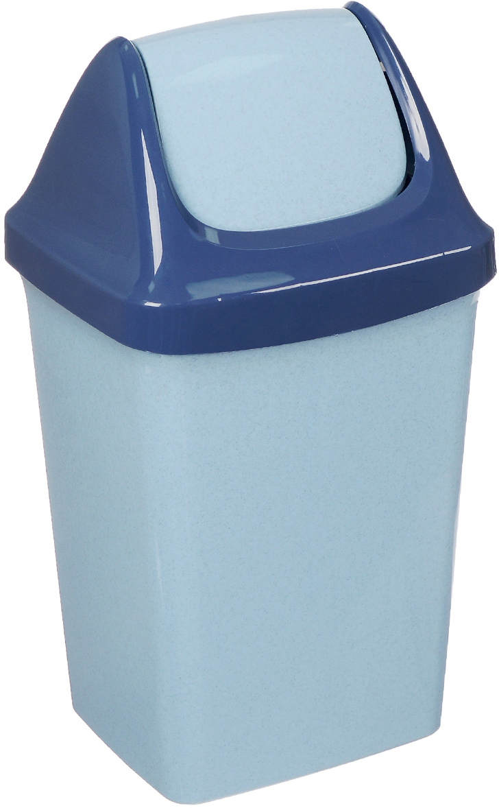 Контейнер для мусора Idea Свинг, цвет: голубой мрамор, 15 л контейнер для хранения idea океаник цвет голубой 20 л