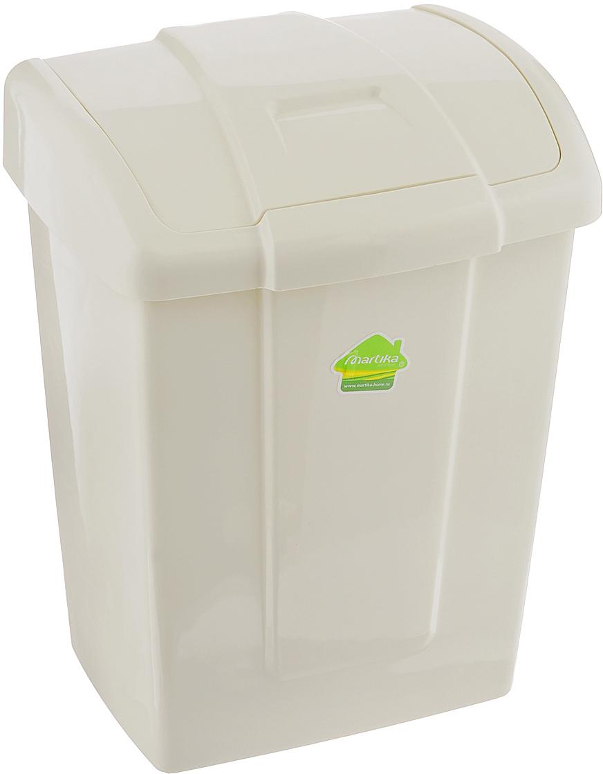 """Контейнер для мусора Martika """"Форте"""" изготовлен из прочного полипропилена (пластика). Такой аксессуар очень удобен в использовании как дома, так и в офисе. Контейнер снабжен удобной поворачивающейся крышкой. Стильный дизайн сделает его прекрасным украшением интерьера."""