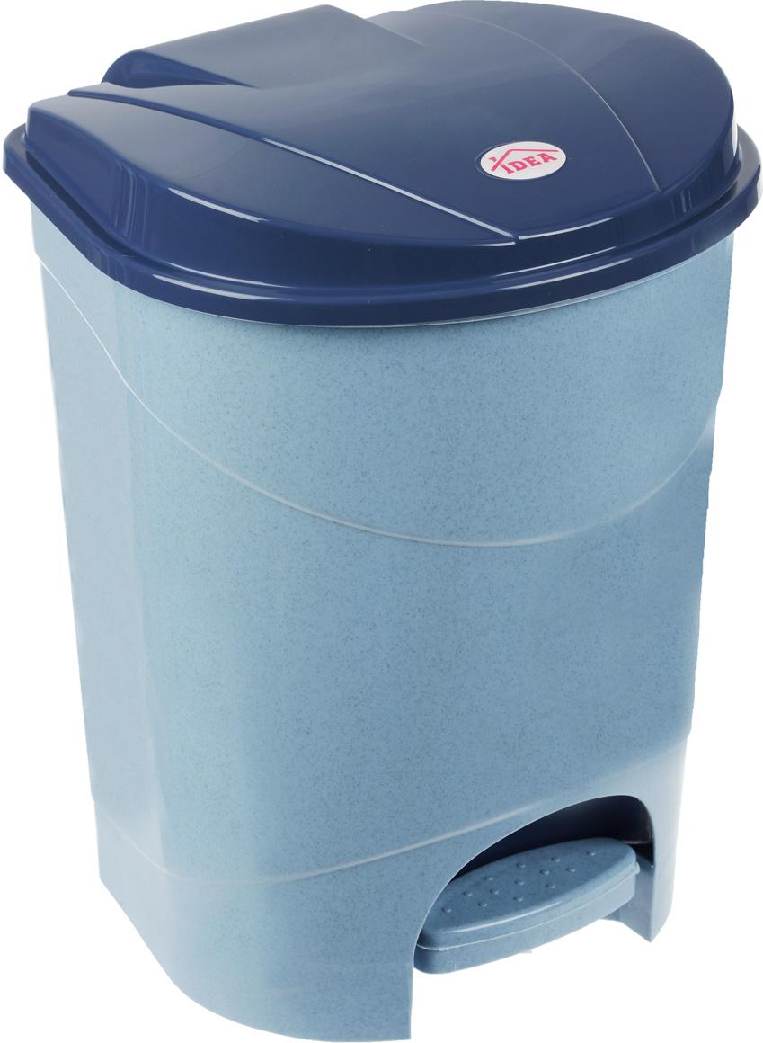 Контейнер для мусора Idea, с педалью, цвет: голубой мрамор, 19 лМ 2892Мусорный контейнер Idea, выполненный из прочного пластика, не боится ударов и долгих лет использования. Изделие оснащено педалью, с помощью которой можно открыть крышку. Закрывается крышка практически бесшумно, плотно прилегает, предотвращая распространение запаха. Внутри пластиковая емкость для мусора, которую при необходимости можно достать из контейнера. Интересный дизайн разнообразит интерьер кухни и сделает его более оригинальным.