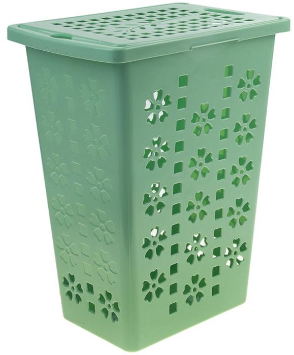 Корзина для белья Альтернатива Виолетта, цвет: зеленый, 30 л