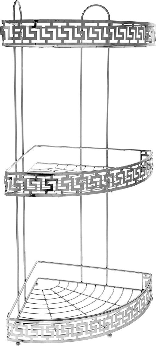 """Угловая полка для ванной """"Mayer & Boch"""" изготовлена из прочного хромированного металла. Изделие имеет 3 полки с сетчатым дном и ажурным бортиком. Полка отлично подойдет для хранения различных ванных принадлежностей. Она впишется практически в любой интерьер ванной и поможет эффективно организовать пространство. Крепления в комплекте."""