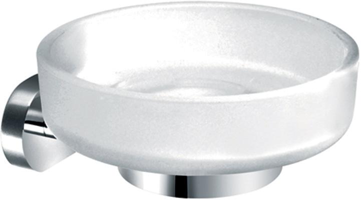 Мыльница подвесная Gro Welle MandarinMDR561Мыльница Gro Welle Mandarin изготовлена из высококачественной латуни и прочного матового стекла, благодаря чему подходит для помещений с повышенной влажностью. Хромоникелевое покрытие Crystallight придает изделию яркий металлический блеск и эстетичный внешний вид. Имеет водоотталкивающие свойства, благодаря которым защищает изделие. Устойчива к кислотным и щелочным чистящим средствам. Быстро и просто крепится к стене, крепежные материалы входят в комплект. Такая мыльница великолепно дополнит интерьер вашей ванной комнаты или кухни.Диаметр мыльницы: 11,8 см.Высота мыльницы: 5,6 см.