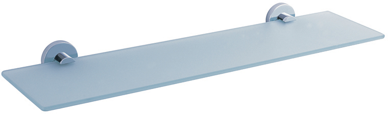 """Полка Gro Welle """"Rube"""" просто создана для современной ванной комнаты. Изделие выполнено из высококачественной латуни и стекла. Хромоникелевое покрытие Crystallight придает изделию яркий металлический блеск и эстетичный внешний вид. Имеет водоотталкивающие свойства, благодаря которым защищает изделие. Покрытие устойчиво к кислотным и щелочным чистящим средствам. Стильная и элегантная, эта полка позволит вам сэкономить место и уместить гораздо больше вещей, чем вы можете предположить. Полка крепится к стене при помощи шурупов (входят в комплект).Ширина полки: 53 см.Высота полки: 4,8 см.Отступ от стены: 13,9 см."""