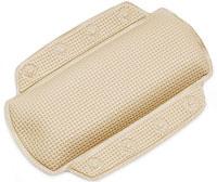 """Подушка для ванной """"Alaska"""" изготовлена из высокопрочного вспененного полихлорвинила, крепится при помощи присосок. Такая подушка будет незаменима для тех, кто любит понежиться в ванной, а также станет приятным и оригинальным подарком. Подушку можно стирать в стиральной машине при температуре 30 градусов. Характеристики: Материал: полихлорвинил. Размер подушки: 23 см х 32 см. Цвет: шампань. Артикул: 1042978. Производитель: Швейцария."""