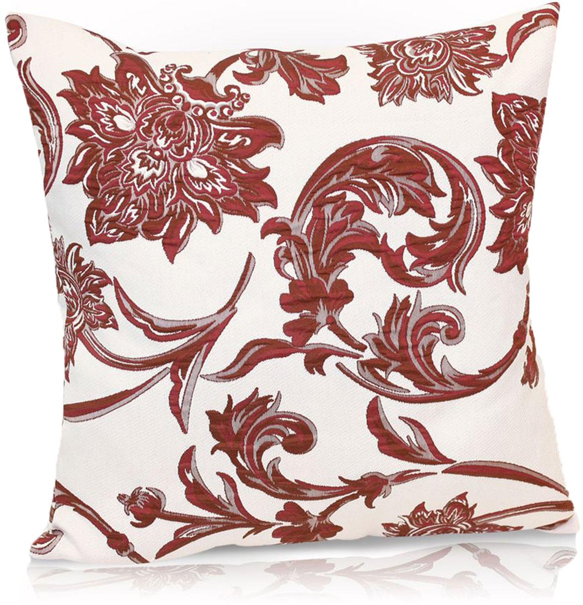 Подушка декоративная KauffOrt Руан, цвет: бордовый, 40 x 40 см штора легкая kauffort barolo