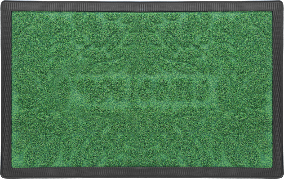 Коврик придверный Vortex Grass, рельефный, цвет: зеленый, 50 х 80 см. 22523 коврик придверный 35х60 см черный свинка vortex 20028