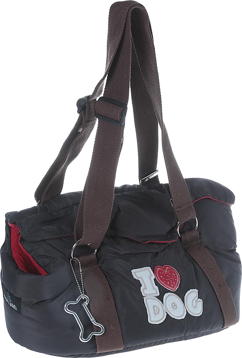 Переноска для животных Camon I Love Dog, цвет: мокрый асфальт, 37 х 22 х 23 смCA305/BУдобная, практичная и легкая сумка-переноска Camon I Love Dog предназначена для собак и кошек. Мягкая текстильная подкладка дутой сумки обеспечит максимальный комфорт для вашего питомца. Уплотненное основание сумки не позволит животному провисать. Снаружи сумка выполнена из плащевой ткани и декорирована нашивками из мягкого текстиля и стразами. Сумка подходит для переноски небольших животных. Особенности: Отверстие в боковой части для вентиляции. Внутренний ремешок с замочком-карабином крепится к ошейнику. Внешний карман. Сумка-переноска фиксируется с помощью молнии. Декоративная подвеска-карабин, выполненная в виде косточки. Регулируемые по длине прочные текстильные ручки. Размер сумки: 37 х 22 х 23 см.Максимальная высота ручек: 40 см.Уход: Стирать вручную в мыльной воде при температуре не выше 30 °С.