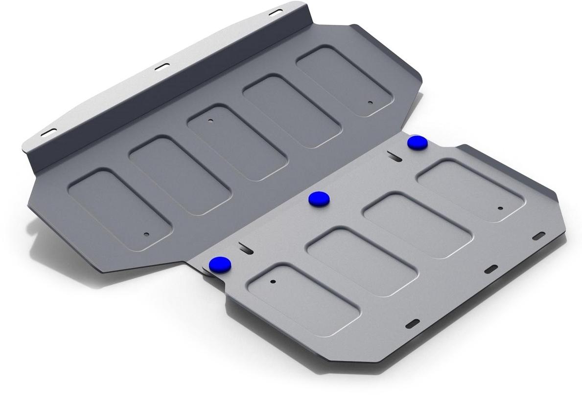 Защита радиатора и картера (2 части) Rival, для Kia Mohave 2017-н.в., алюминий 4 мм333.2838.1Защита радиатора и картера (2 части) для Kia Mohave V - все 2017-н.в., алюминий 4 мм, крепеж в комплекте, 333.2838.1Алюминиевые защиты Rival надежно защищают днище вашего автомобиля от повреждений, например при наезде на бордюры, а также выполняют эстетическую функцию при установке на высокие автомобили.- Толщина алюминиевых защит в 2 раза толще стальных, а вес при этом меньше до 30%.- Отлично отводит тепло от двигателя своей поверхностью, что спасает двигатель от перегрева в летний период или при высоких нагрузках.- В отличие от стальных, алюминиевые защиты не поддаются коррозии, что гарантирует срок службы защит более 5 лет.- Покрываются порошковой краской, что надолго сохраняет первоначальный вид новой защиты и защищает от гальванической коррозии.- Глубокий штамп дополнительно усиливает конструкцию защиты.- Подштамповка в местах крепления защищает крепеж от срезания.- Технологические отверстия там, где они необходимы для смены масла и слива воды, оборудованные заглушками, надежно закрепленными на защите.- Помимо основной функции защиты от удара, конструкция так же существенно снижает попадание в моторный отсек влаги и грязи.В комплекте инструкция по установке.Уважаемые клиенты!Обращаем ваше внимание, на тот факт, что защита имеет форму, соответствующую модели данного автомобиля. Наличие глубокого штампа и лючков для смены фильтров/масла предусмотрено не на всех защитах. Фото служит для визуального восприятия товара.