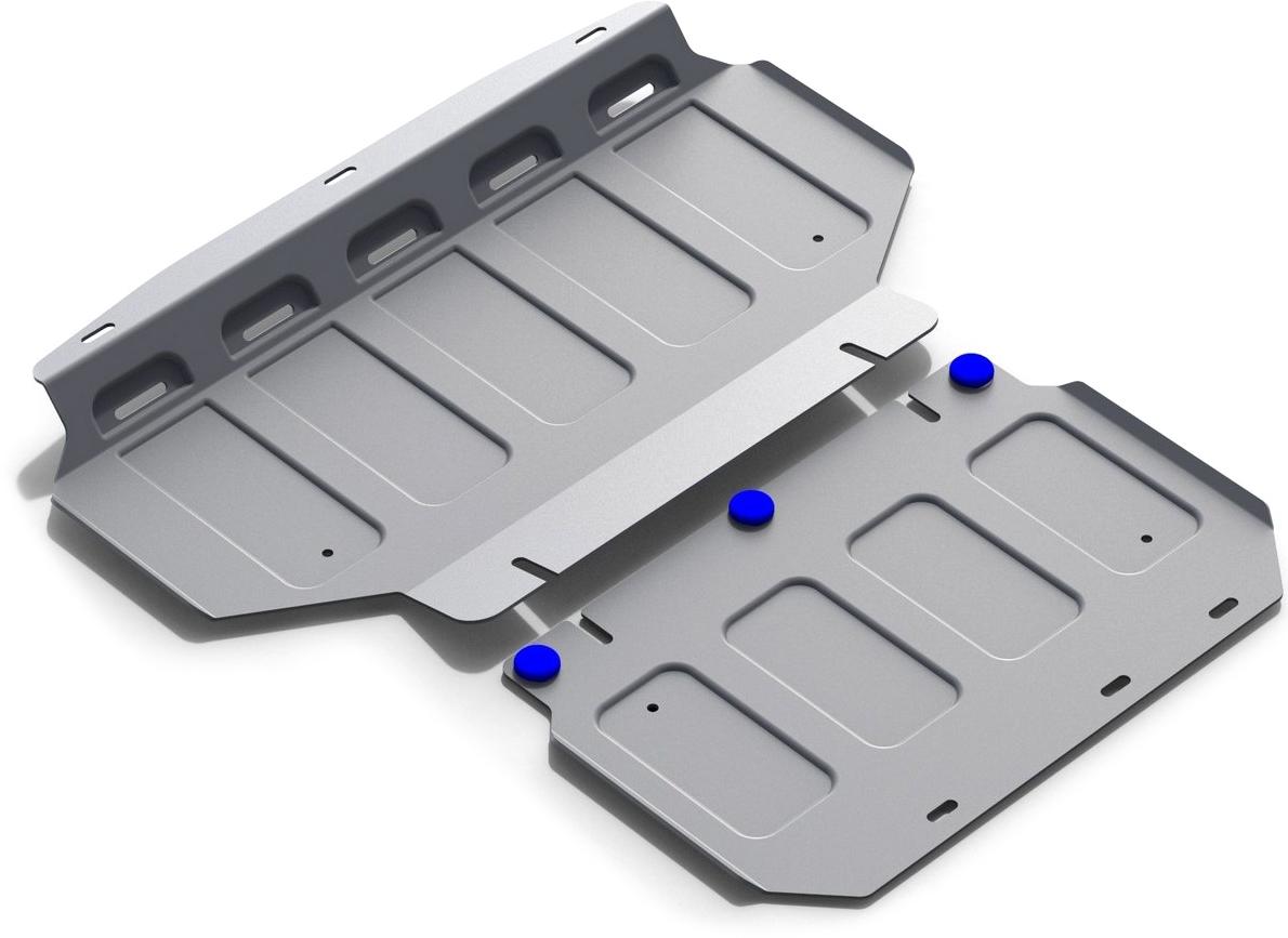 Защита картера (2 части) Rival, для Kia Mohave 2009-2017, алюминий 4 мм333.2839.1Защита картера (2 части) для Kia Mohave V - все 2009-2017, алюминий 4 мм, крепеж в комплекте, 333.2839.1Алюминиевые защиты Rival надежно защищают днище вашего автомобиля от повреждений, например при наезде на бордюры, а также выполняют эстетическую функцию при установке на высокие автомобили.- Толщина алюминиевых защит в 2 раза толще стальных, а вес при этом меньше до 30%.- Отлично отводит тепло от двигателя своей поверхностью, что спасает двигатель от перегрева в летний период или при высоких нагрузках.- В отличие от стальных, алюминиевые защиты не поддаются коррозии, что гарантирует срок службы защит более 5 лет.- Покрываются порошковой краской, что надолго сохраняет первоначальный вид новой защиты и защищает от гальванической коррозии.- Глубокий штамп дополнительно усиливает конструкцию защиты.- Подштамповка в местах крепления защищает крепеж от срезания.- Технологические отверстия там, где они необходимы для смены масла и слива воды, оборудованные заглушками, надежно закрепленными на защите.- Помимо основной функции защиты от удара, конструкция так же существенно снижает попадание в моторный отсек влаги и грязи.В комплекте инструкция по установке.Уважаемые клиенты!Обращаем ваше внимание, на тот факт, что защита имеет форму, соответствующую модели данного автомобиля. Наличие глубокого штампа и лючков для смены фильтров/масла предусмотрено не на всех защитах. Фото служит для визуального восприятия товара.