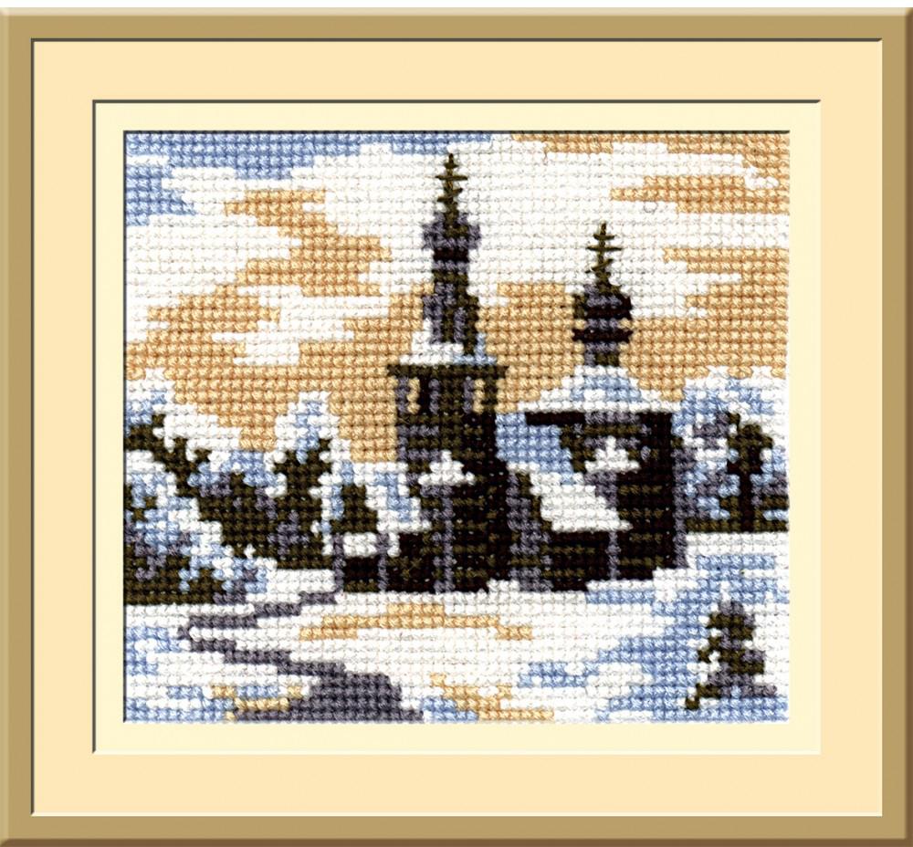 """Набор для вышивания крестом """"Пейзаж в овале"""", 13 х 15 см С-091, РС-Студия"""