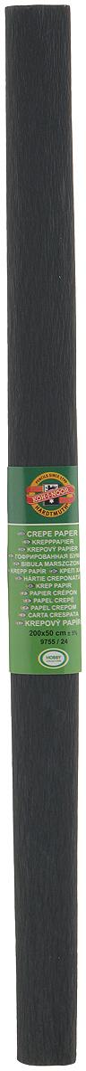 Бумага гофрированная Koh-I-Noor, цвет: черный, 50 см x 2 м бумага цветная гофрированная 50 250см art idea корица