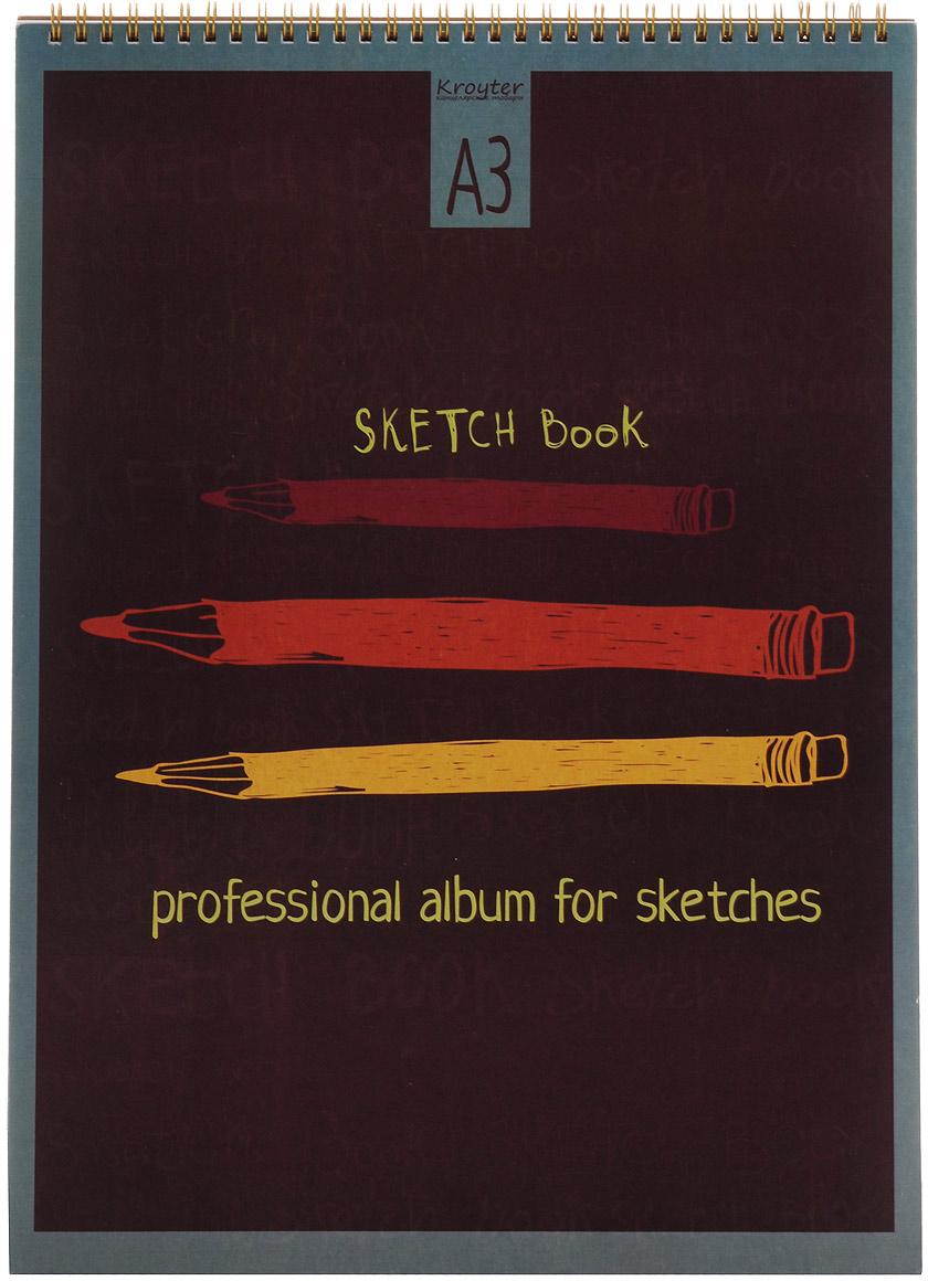 Альбом для эскизов Kroyter, формат А3, 20 л05718Альбом для эскизов Kroyter включает 20 листов. Внутренний блок состоит из двух видов бумаг - 10 листов крафт бумаги и 10 листов ватмана. Обложка выполнена из высококачественного мелованного картона с многокрасочной печатью. Альбом предназначен для эскизов и рисования. Благодаря твердой картонной подложке в альбоме можно рисовать на весу. Скрепление блока - спираль.Плотность крафт-бумаги: 80 г/м2.Плотность ватмана: 160 г/м2.Плотность картона (обложка): 235 г/м2.