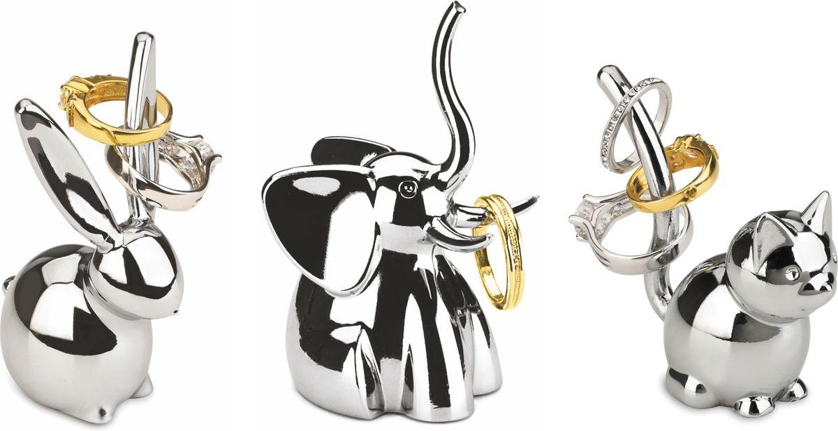 Набор подставок для колец Umbra Zoola, цвет: хром, 3 предмета1009157-158Стильные подставки для колец Zoola от Umbra теперь в виде набора из трёх самых популярных фигурок: зайца, слона и кота.Прекрасно подойдет как любительницам порядка, так и просто высоко эстетичным натурам. Набор станет незаменимым помощником в хранении любимых украшений и прекрасно впишется в любой стиль интерьера. Дизайнер Sung Wook Park.