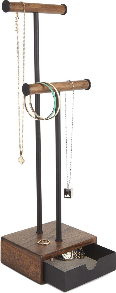 Органайзер для украшений Umbra Pillar, цвет: черный, орех, 12,7 х 16,5 х 46,5 см