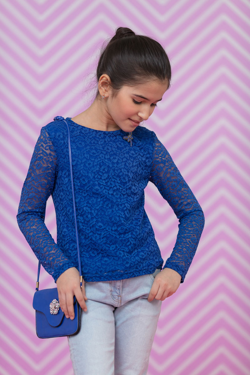 Блузка для девочки Nota Bene, цвет: синий. 17423010181. Размер 13417423010181