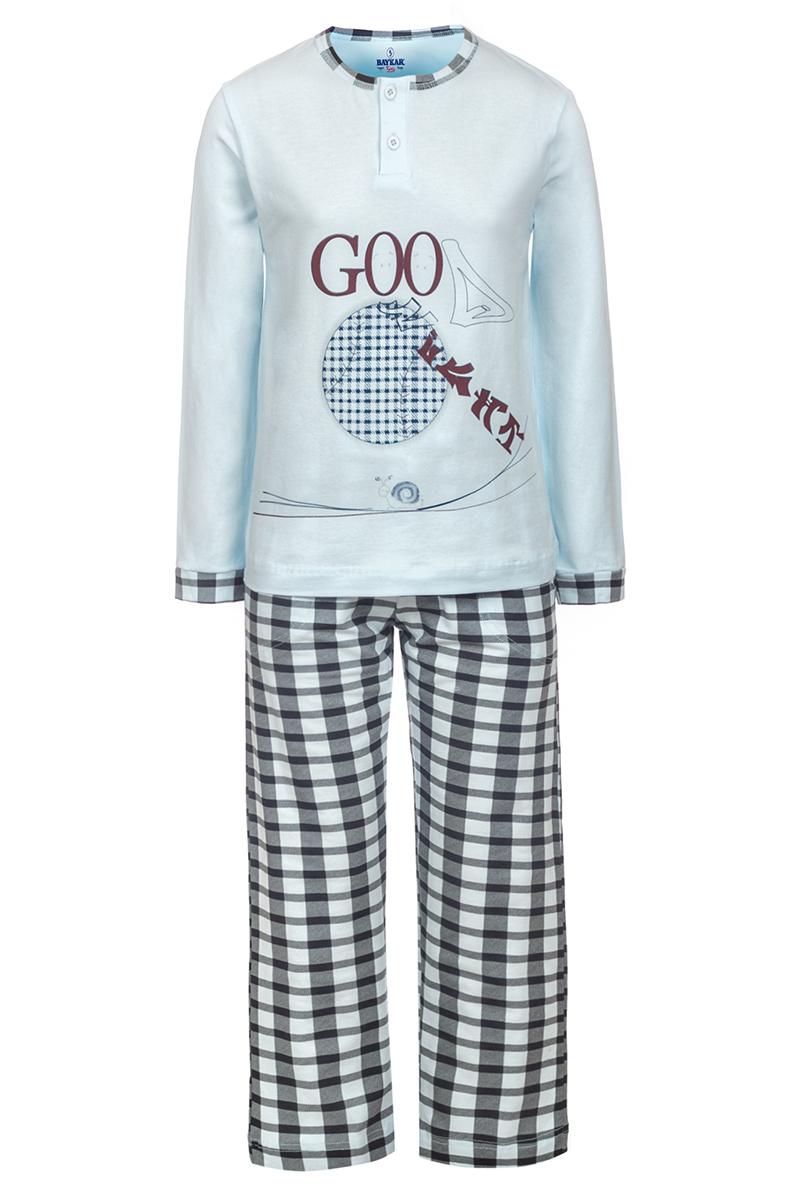 Пижама для мальчика Baykar, цвет: белый, серый. N9076229. Размер 134/140N9076229Пижама для мальчика Baykar, выполненная из мягкого эластичного хлопка, идеально подойдет вашему непоседе для сна и отдыха. Материал приятный к телу, не стесняет движений, хорошо пропускает воздух. Пижама состоит из футболки с длинным рукавом и брюк. Футболка с длинными рукавами и круглым вырезом горловины украшена принтом и дополнена застежкой на 2 пуговицы. Вырез горловины оформлен эластичной бейкой. Брюки имеют на талии мягкую широкую резинку, благодаря чему они не сдавливают животик ребенка и не сползают. Высокое качество исполнения и дизайн принесут удовольствие от покупки и подарят отличное настроение!