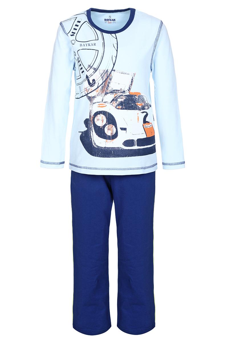 Пижама для мальчика Baykar, цвет: голубой, синий. N9087217. Размер 122/128 baykar baykar майка для мальчика серая