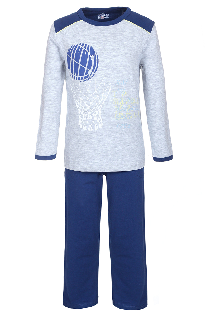 Пижама для мальчика Baykar, цвет: синий, серый. N9088220. Размер 110/116N9088220Пижама для мальчика Baykar включает в себя футболку с длинным рукавом и брюки. Пижама изготовлена из эластичного хлопка. Футболка с длинными рукавами-реглан и круглым вырезом горловины оформлена принтом. Свободные прямые брюки с широкой эластичной резинкой на поясе дополнены двумя втачными карманами и имеют комфортные эластичные швы.