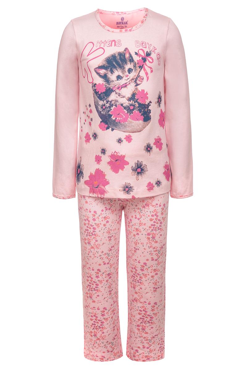Пижама для девочки Baykar, цвет: розовый. N9333248. Размер 116/122N9333248Пижама для девочки Baykar, выполненная из мягкого эластичного хлопка, идеально подойдет маленькой принцессе для сна и отдыха. Материал приятный к телу, не стесняет движений, хорошо пропускает воздух. Пижама состоит из футболки с длинным рукавом и брюк. Футболка с длинными рукавами и круглым вырезом горловины украшена изображением цветов и котенка. Вырез горловины оформлен эластичной бейкой. Брюки имеют на талии мягкую широкую резинку, благодаря чему они не сдавливают животик ребенка и не сползают. Высокое качество исполнения и дизайн принесут удовольствие от покупки и подарят отличное настроение!