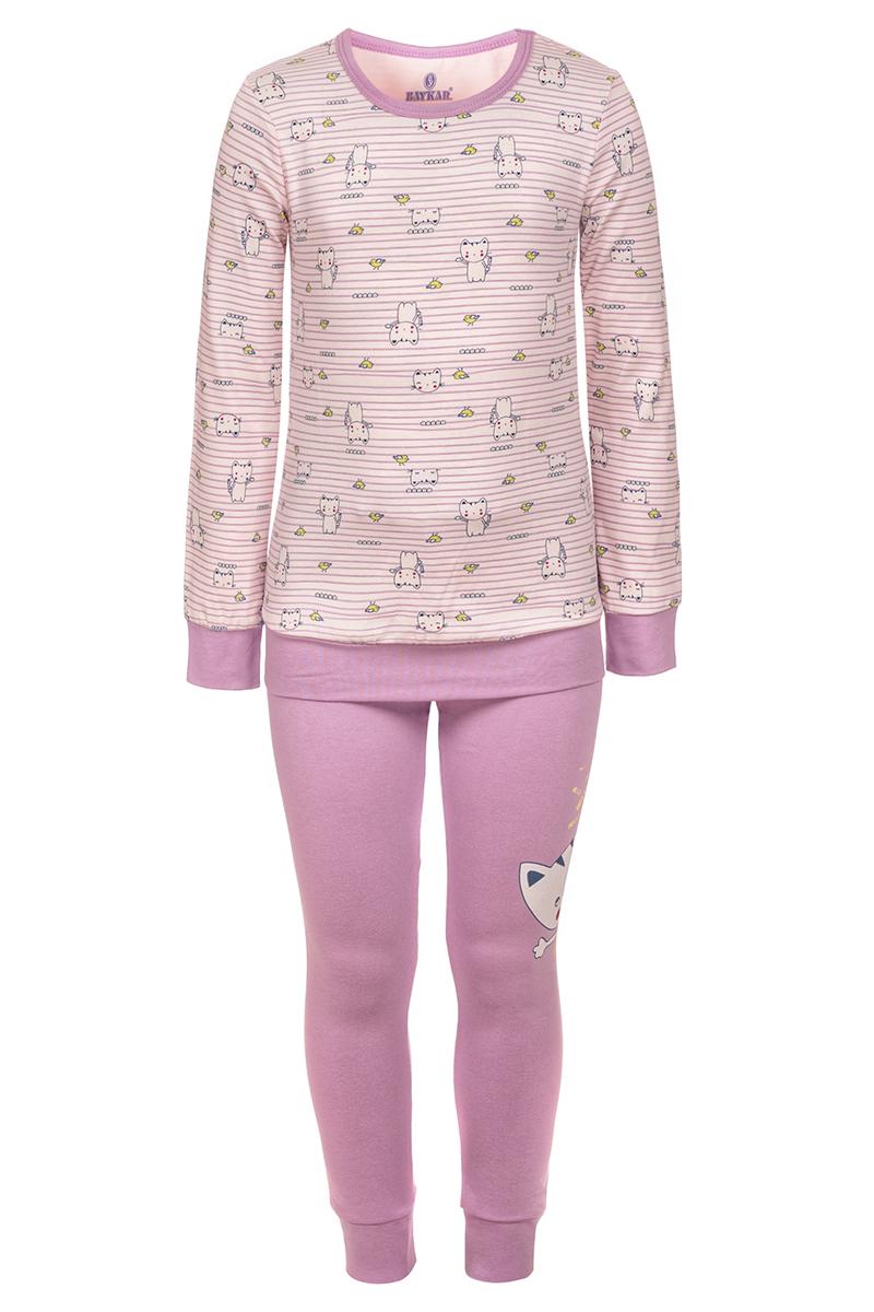 Пижама для девочки Baykar, цвет: розовый. N9341248. Размер 92/98N9341248Пижама для девочки Baykar, выполненная из мягкого эластичного хлопка, идеально подойдет маленькой принцессе для сна и отдыха. Материал приятный к телу, не стесняет движений, хорошо пропускает воздух. Пижама состоит из футболки с длинным рукавом и брюк. Футболка с длинными рукавами и круглым вырезом горловины украшена полосками и изображением кошек. Вырез горловины оформлен эластичной бейкой. На рукавах имеются широкие манжеты. Брюки имеют на талии мягкую широкую резинку, благодаря чему они не сдавливают животик ребенка и не сползают. На брючинах предусмотрены широкие манжеты. Высокое качество исполнения и дизайн принесут удовольствие от покупки и подарят отличное настроение!