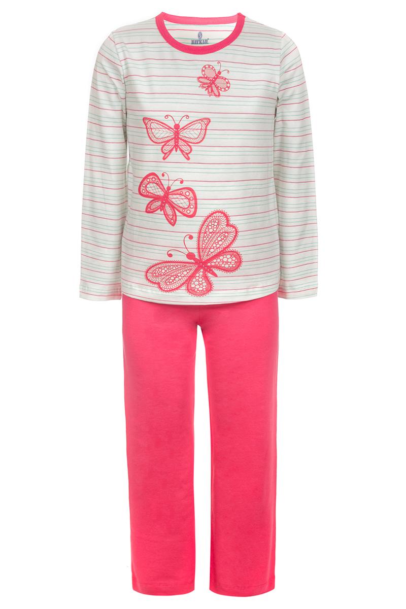 Пижама для девочки Baykar, цвет: белый, розовый. N9342208. Размер 160/162N9342208Пижама для девочки Baykar, выполненная из мягкого эластичного хлопка, идеально подойдет маленькой принцессе для сна и отдыха. Материал приятный к телу, не стесняет движений, хорошо пропускает воздух. Пижама состоит из футболки с длинным рукавом и брюк. Футболка с длинными рукавами и круглым вырезом горловины украшена изображением бабочек. Вырез горловины оформлен эластичной бейкой. Брюки прямого кроя имеют на талии мягкую широкую резинку, благодаря чему они не сдавливают животик ребенка и не сползают. Высокое качество исполнения и дизайн принесут удовольствие от покупки и подарят отличное настроение!