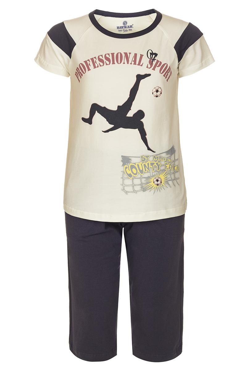 Пижама для мальчика Baykar, цвет: бежевый, черный. N9612208. Размер 122/128 baykar baykar майка для мальчика серая