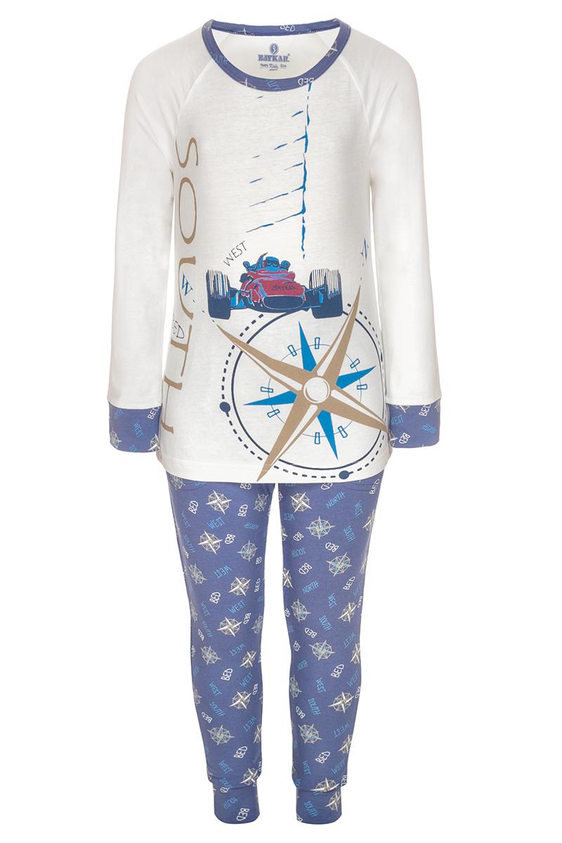 Пижама для мальчика Baykar, цвет: слоновая кость, синий. N9620208. Размер 104/110N9620208Пижама для мальчика Baykar включает в себя футболку с длинным рукавом и брюки. Пижама изготовлена из эластичного хлопка. Футболка с длинными рукавами-реглан и круглым вырезом горловины оформлена принтом. Прямые брюки с широкой эластичной резинкой на поясе дополнены эластичными манжетами.