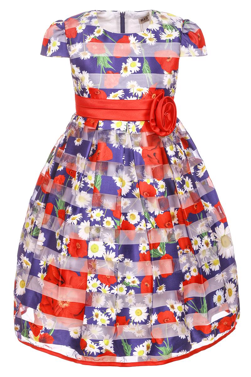 Платье для девочки M&D, цвет: темно-синий. NWD2700329. Размер 98NWD2700329Яркое платье M&D выполнено из полиэстера с добавлением модала и хлопка. Платье имеет короткие рукава-фонарики, круглый вырез горловины и пышную юбочку. Застегивается на молнию на спинке. Модель декорирована рисунком в виде красных маков и белых ромашек, талия дополнена лентой с красной розочкой.