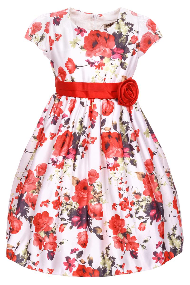 Платье для девочки M&D, цвет: розовый. NWD2700405. Размер 98NWD2700405Яркое платье M&D выполнено из полиэстера с добавлением модала и хлопка. Платье имеет короткие рукава-фонарики, круглый вырез горловины и пышную юбочку. Застегивается на молнию на спинке. Модель декорирована красочным цветочным рисунком, талия дополнена лентой с красной розочкой.