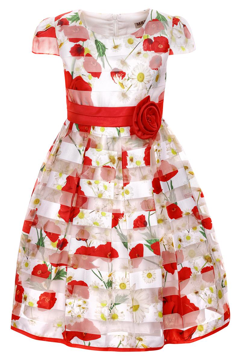 Платье для девочки M&D, цвет: красный. NWD2700505. Размер 122NWD2700505Яркое платье M&D выполнено из полиэстера с добавлением модала и хлопка. Платье имеет короткие рукава-фонарики, круглый вырез горловины и пышную юбочку. Застегивается на молнию на спинке. Модель декорирована рисунком в виде красных маков и белых ромашек, талия дополнена лентой с красной розочкой.