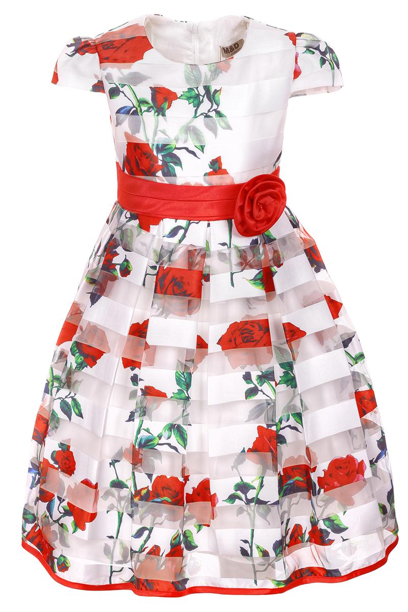 Платье для девочки M&D, цвет: красный. NWD2700605. Размер 98NWD2700605Яркое платье M&D выполнено из полиэстера с добавлением модала и хлопка. Платье имеет короткие рукава-фонарики, круглый вырез горловины и пышную юбочку. Застегивается на молнию на спинке. Модель декорирована рисунком в виде красных роз, талия дополнена лентой с красной розочкой.