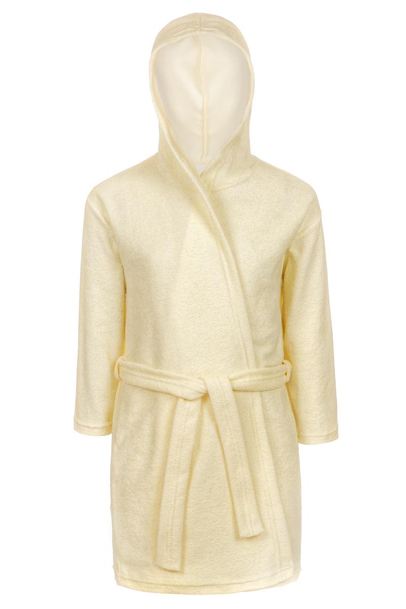 Халат для девочки M&D, цвет: желтый. Х75502. Размер 116Х75502Халат для девочки M&D выполнен из хлопка с добавлением полиэстера. Модель имеет длинные рукава и капюшон. Завязывается поясом.