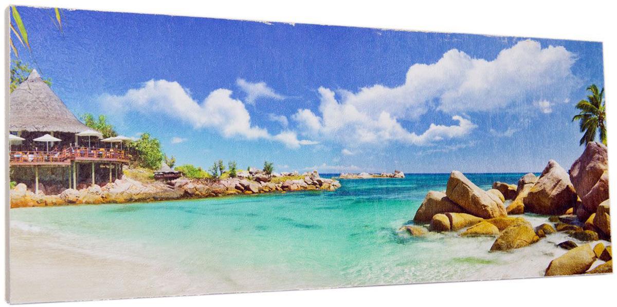 Картина Mister Poster Райский остров, 60 х 24 см0333-24-60Картина Mister Poster - это высококачественная репродукция на деревянной раме. Лицевая поверхность имитирует штукатурку или натуральный холст, края окрашены вручную специальным декоративным составом.Современные технологии, уникальное оборудование и оригинальные чернила, используемые при изготовлении, делают постер устойчивым к выцветанию, а также гарантируют стойкость к воздействию негативных внешних факторов. Интерьер дома и офиса, в котором находится человек, в значительной степени влияет на его настроение и работоспособность. Правильное оформление интерьера создает благоприятный психологический климат, улучшает настроение и мотивирует. Добавьте «красок» в ваш интерьер и, возможно, в вашу жизнь.