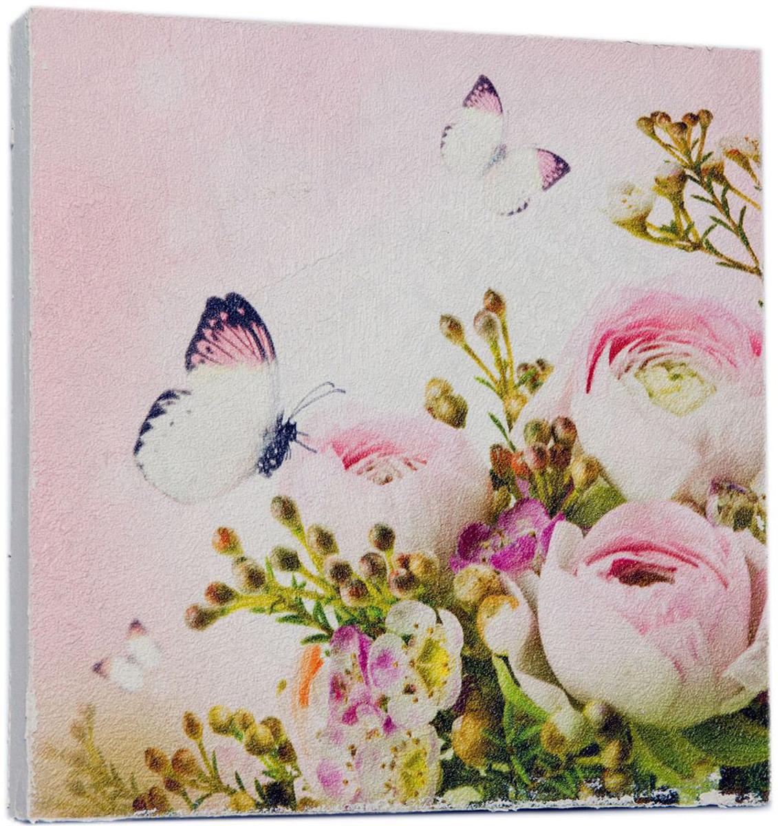 Картина Mister Poster Нежные розовые пионы с бабочкой, 22 х 22 см0534-22-22Картина Mister Poster - это высококачественная репродукция на деревянной раме. Лицевая поверхность имитирует штукатурку или натуральный холст, края окрашены вручную специальным декоративным составом.Современные технологии, уникальное оборудование и оригинальные чернила, используемые при изготовлении, делают постер устойчивым к выцветанию, а также гарантируют стойкость к воздействию негативных внешних факторов. Интерьер дома и офиса, в котором находится человек, в значительной степени влияет на его настроение и работоспособность. Правильное оформление интерьера создает благоприятный психологический климат, улучшает настроение и мотивирует. Добавьте «красок» в ваш интерьер и, возможно, в вашу жизнь.