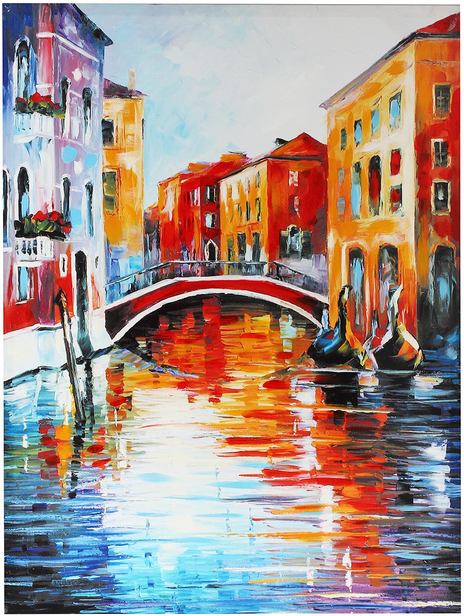Картина-репродукция на холсте Венеция, без рамки, 80 х 60 см 3601336013Картина-репродукция Венеция, выполненная на деревянном подрамнике и холсте масляной печатью с ручной подрисовкой, дополнит интерьер любого помещения, а также может стать изысканным подарком для ваших друзей и близких. На картине изображен венецианский канал с гондолами. Благодаря оригинальному дизайну картина может использоваться для оформления любых интерьеров: гостиной, спальни, кухни, прихожей, детской или офиса. Изделие оснащено отверстием для подвешивания на стену. Такая картина - вдохновляющее декоративное решение, привносящее в интерьер нотки творчества и изысканности!