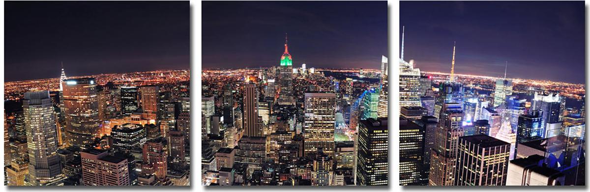 Канвас триптих Idea Ночной город, 150 х 50 смIDEA CT2-05Канвас - это ткань (полиэстер) с художественной фотопечатью, натянутая на деревянный каркас. Триптих включает три элемента, которые образуют единый рисунок. Такое изделие - оригинальный декоративный элемент, способный преобразить любой интерьер. Картина оформлена красочным изображением ночного города. С задней стороны имеются петельки для подвешивания к стене. Элементы следует размещать на стене, оставляя между ними небольшой промежуток. Стильный, современный дизайн, а также яркие и насыщенные цвета сделают эту картину прекрасным дополнением интерьера комнаты.