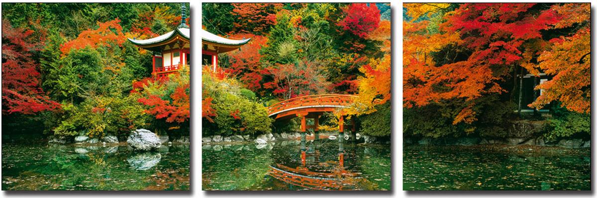 Канвас триптих Idea Япония, 150 х 50 смIDEA FL2-05Канвас - это ткань (полиэстер) с художественной фотопечатью, натянутая на деревянный каркас. Триптих включает три элемента, которые образуют единый рисунок. Такое изделие - оригинальный декоративный элемент, способный преобразить любой интерьер. Картина оформлена красочным пейзажем осени в Японии. С задней стороны имеются петельки для подвешивания к стене. Элементы следует размещать на стене, оставляя между ними небольшой промежуток.Стильный, современный дизайн, а также яркие и насыщенные цвета сделают эту картину прекрасным дополнением интерьера комнаты.
