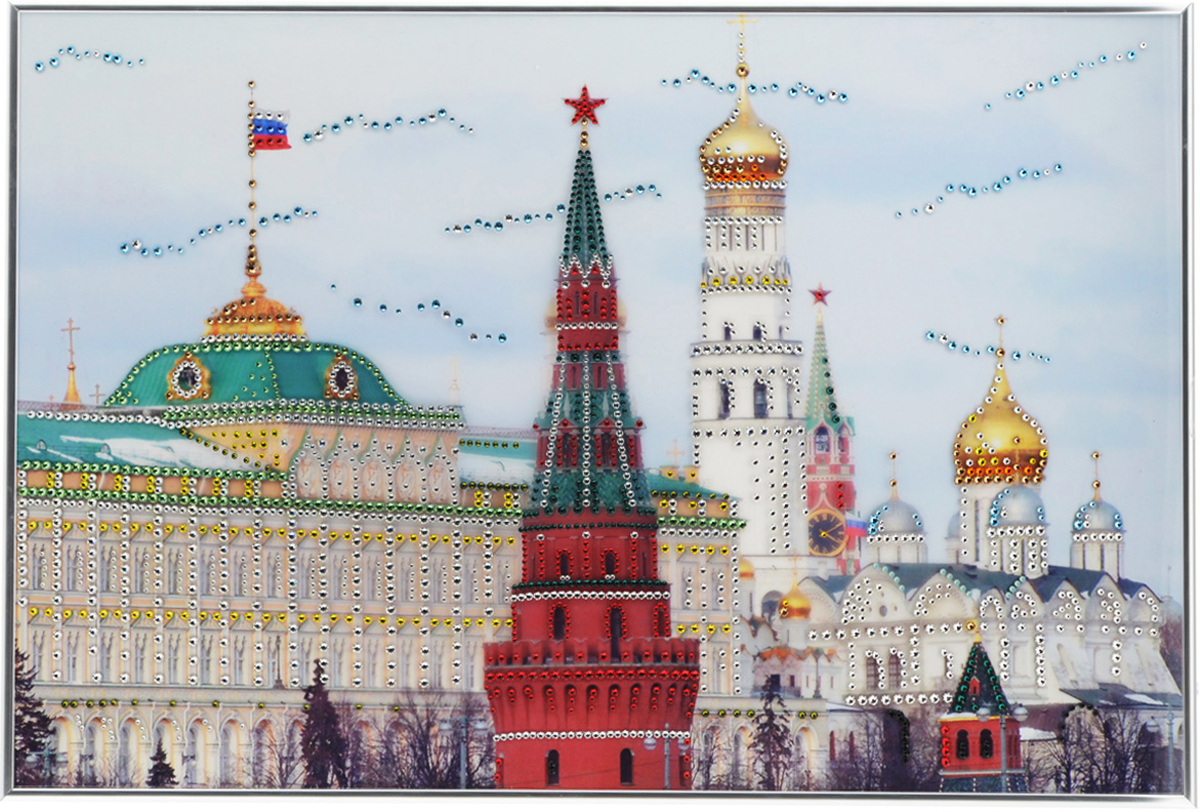 """Картина с кристаллами Swarovski """"Дом Правительства"""", 60 см х 40 см, Giftcrystal Хрустальные подарки"""