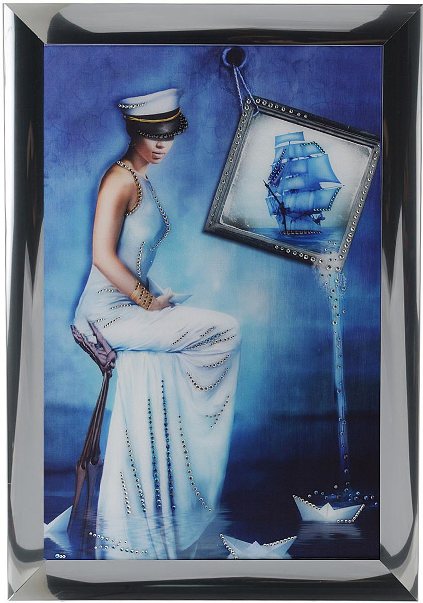 Картина с кристаллами Swarovski Морская дама, 47 см х 67 см1355Изящная картина в алюминиевой раме Морская дама инкрустирована кристаллами Swarovski, которые отличаются четкой и ровной огранкой, ярким блеском и чистотой цвета. Идеально подобранная палитра кристаллов прекрасно дополняет картину. С задней стороны изделие оснащено специальной металлической петелькой для размещения на стене. Картина с кристаллами Swarovski элегантно украсит интерьер дома, а также станет прекрасным подарком, который обязательно понравится получателю. Блеск кристаллов в интерьере - что может быть сказочнее и удивительнее. Изделие упаковано в подарочную картонную коробку синего цвета и комплектуется сертификатом соответствия Swarovski.