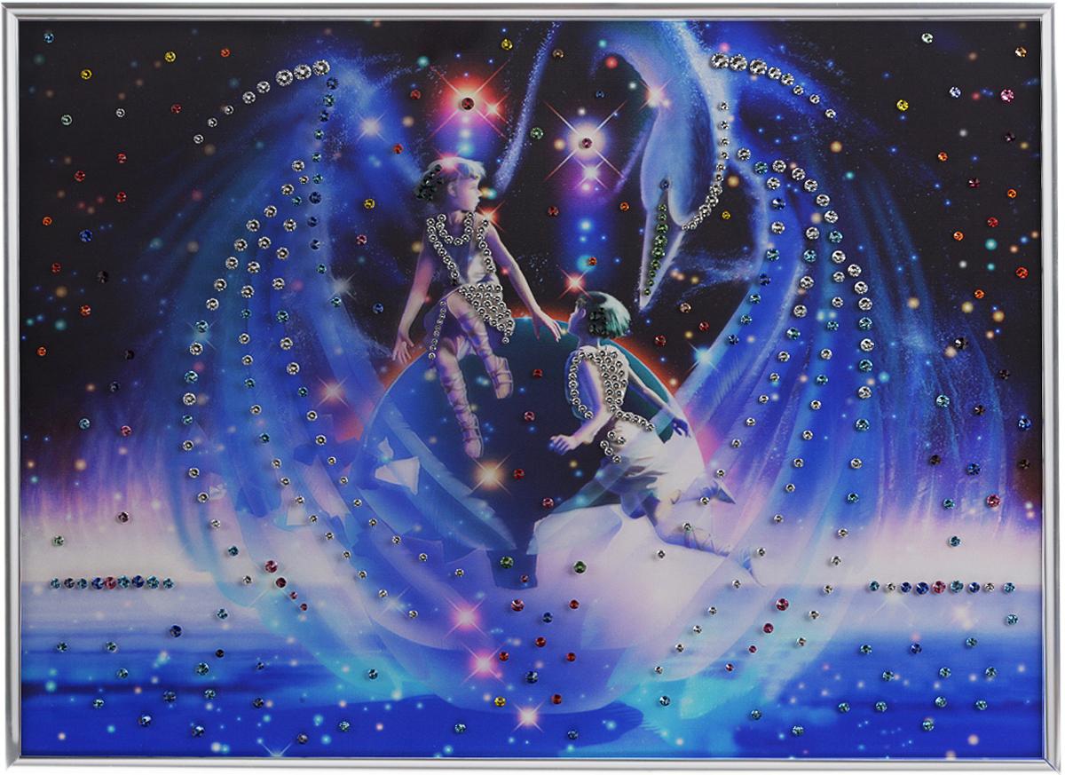 Картина с кристаллами Swarovski Знак зодиака. Близнецы Кагая, 40 см х 60 см1139Изящная картина в металлической раме, инкрустирована кристаллами Swarovski, которые отличаются четкой и ровной огранкой, ярким блеском и чистотой цвета. Красочное изображение знака зодиака - близнецы Кагая, расположенное на внутренней стороне стекла, прекрасно дополняет блеск кристаллов. С обратной стороны имеется металлическая петелька для размещения картины на стене.Картина с кристаллами Swarovski Знак зодиака. Близнецы Кагая элегантно украсит интерьер дома или офиса, а также станет прекрасным подарком, который обязательно понравится получателю. Блеск кристаллов в интерьере, что может быть сказочнее и удивительнее. Картина упакована в подарочную картонную коробку синего цвета и комплектуется сертификатом соответствия Swarovski.