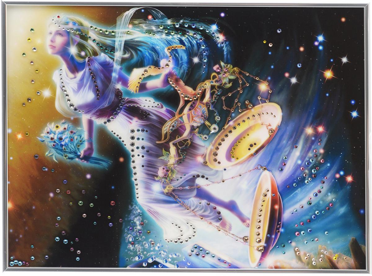 Картина с кристаллами Swarovski Знак зодиака. Весы Кагая, 40 х 30 см1140Изящная картина в металлической раме, инкрустирована кристаллами Swarovski, которые отличаются четкой и ровной огранкой, ярким блеском и чистотой цвета. Красочное изображение знака зодиака - весы Кагая, расположенное под стеклом, прекрасно дополняет блеск кристаллов. С обратной стороны имеется металлическая петелька для размещения картины на стене. Картина с кристаллами Swarovski Знак зодиака. Весы Кагая элегантно украсит интерьер дома или офиса, а также станет прекрасным подарком, который обязательно понравится получателю. Блеск кристаллов в интерьере, что может быть сказочнее и удивительнее. Картина упакована в подарочную картонную коробку синего цвета и комплектуется сертификатом соответствия Swarovski.