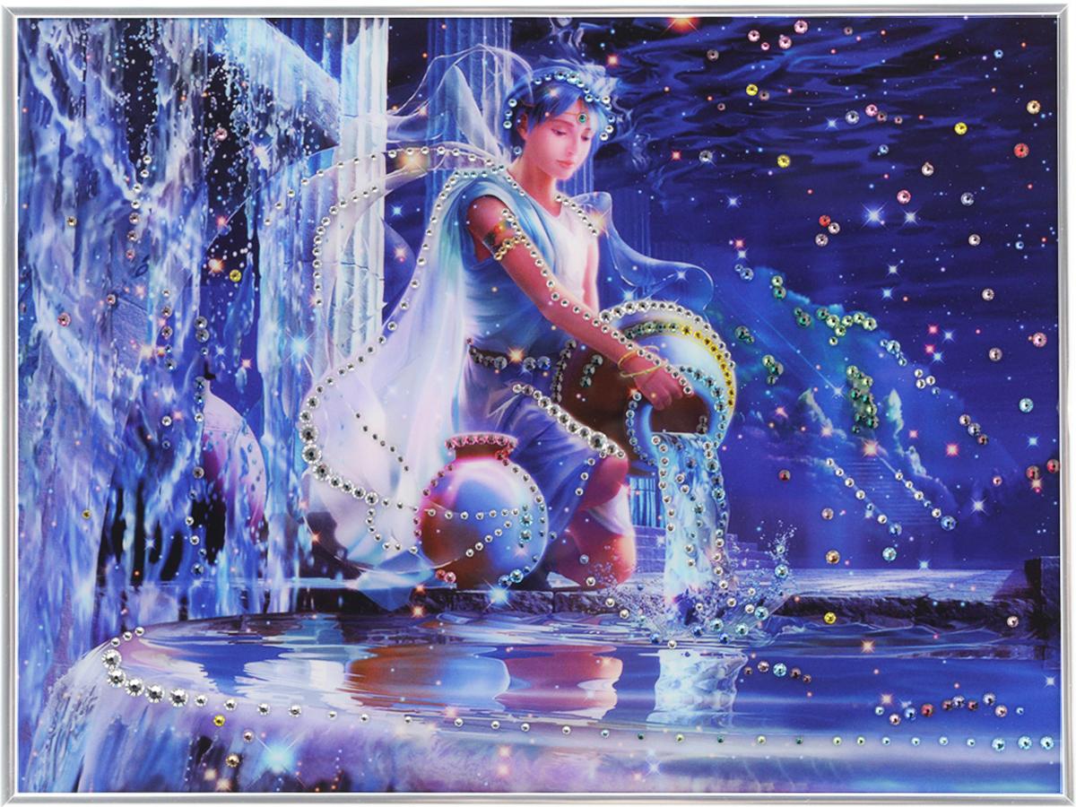 Картина с кристаллами Swarovski Знак зодиака. Водолей Кагая, 40 см х 30 см1141Изящная картина в металлической раме, инкрустирована кристаллами Swarovski, которые отличаются четкой и ровной огранкой, ярким блеском и чистотой цвета. Красочное изображение знака зодиака - водолей Кагая, расположенное под стеклом, прекрасно дополняет блеск кристаллов. С обратной стороны имеется металлическая петелька для размещения картины на стене.Картина с кристаллами Swarovski Знак зодиака. Водолей Кагая элегантно украсит интерьер дома или офиса, а также станет прекрасным подарком, который обязательно понравится получателю. Блеск кристаллов в интерьере, что может быть сказочнее и удивительнее.Картина упакована в подарочную картонную коробку синего цвета и комплектуется сертификатом соответствия Swarovski.